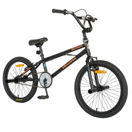 Bicicleta BMX, Roti 20 Inch, Frane V-Brake, Velors Rocker CSV20/16A, Cadru Negru cu Design Portocaliu [1]