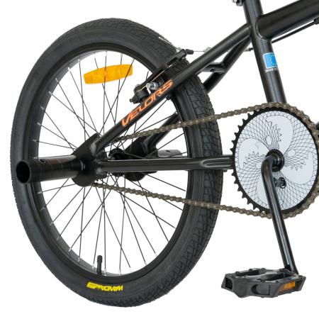 Bicicleta BMX, Roti 20 Inch, Frane V-Brake, Velors Rocker CSV20/16A, Cadru Negru cu Design Portocaliu [6]