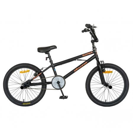Bicicleta BMX, Roti 20 Inch, Frane V-Brake, Velors Rocker CSV20/16A, Cadru Negru cu Design Portocaliu [0]