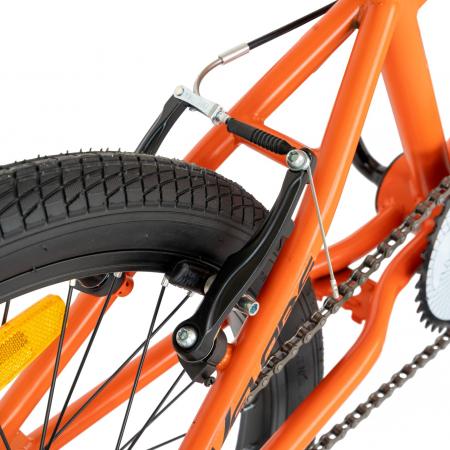 Bicicleta BMX, Roti 20 Inch, Frane V-Brake, Velors Rocker CSV20/16A, Cadru Portocaliu cu Design Negru [6]