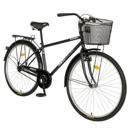 Bicicleta City, Roti 28 Inch, Frana V-Brake, Portbagaj, Aparatori Aluminiu, RICH Dunarea CSR28/91A, Cadru Negru cu Design Alb [1]