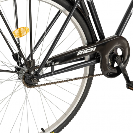 Bicicleta City, Roti 28 Inch, Frana V-Brake, Portbagaj, Aparatori Aluminiu, RICH Dunarea CSR28/91A, Cadru Negru cu Design Alb [3]