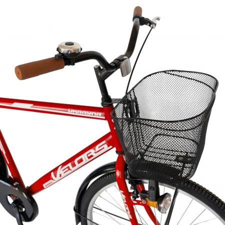 Bicicleta City Roti 28 Inch, Frane Mecanice V-Brake, Velors Ukrayna CSV28/93A, Cadru Rosu cu Design Alb [2]