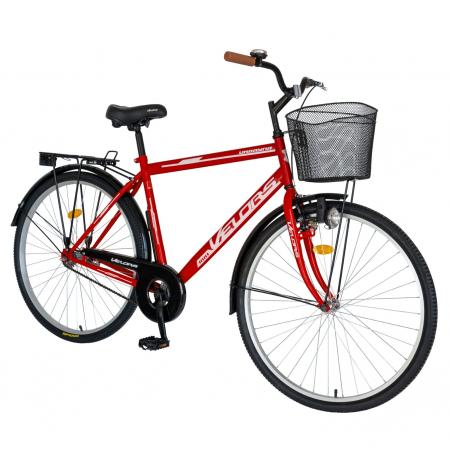 Bicicleta City Roti 28 Inch, Frane Mecanice V-Brake, Velors Ukrayna CSV28/93A, Cadru Rosu cu Design Alb [1]