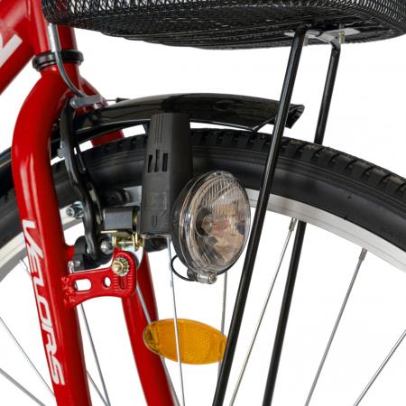 Bicicleta City Roti 28 Inch, Frane Mecanice V-Brake, Velors Ukrayna CSV28/93A, Cadru Rosu cu Design Alb [5]