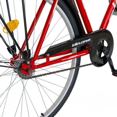 Bicicleta City Roti 28 Inch, Frane Mecanice V-Brake, Velors Ukrayna CSV28/93A, Cadru Rosu cu Design Alb [3]