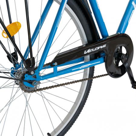 Bicicleta City Roti 28 Inch, Frane Mecanice V-Brake, Velors Ukrayna CSV28/93A, Cadru Albastru cu Design Alb [3]