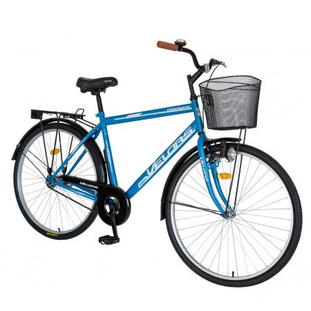 Bicicleta City Roti 28 Inch, Frane Mecanice V-Brake, Velors Ukrayna CSV28/93A, Cadru Albastru cu Design Alb [1]
