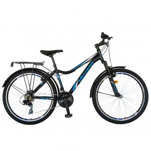 Bicicleta CITY Velors V2633B, roata 26 inch, echipare Shimano, 18 viteze, culoare negru/albastru0