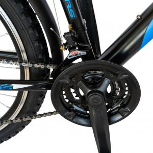 Bicicleta CITY Velors V2633B, roata 26 inch, echipare Shimano, 18 viteze, culoare negru/albastru4