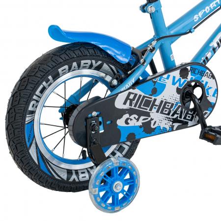 Bicicleta Copii 2-4 ani, Roti 12 Inch, C-Brake, Roti Ajutatoare, Rich Baby CSR12/03A, Cadru Albastru cu Design Negru [2]