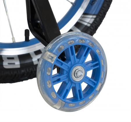 Bicicleta Copii 2-4 ani, Roti 12 Inch, C-Brake, Roti Ajutatoare, Rich Baby CSR12/03A, Cadru Albastru cu Design Negru [4]