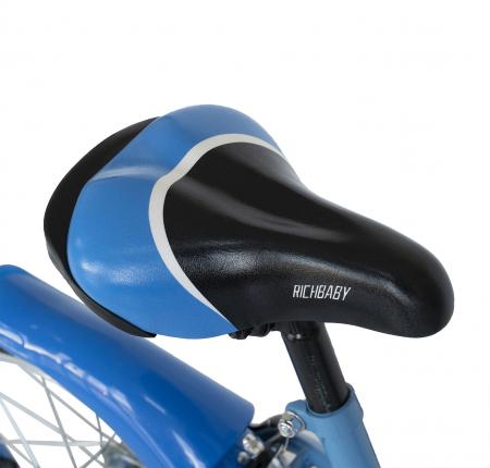 Bicicleta Copii 2-4 ani, Roti 12 Inch, C-Brake, Roti Ajutatoare, Rich Baby CSR12/03A, Cadru Albastru cu Design Negru [6]