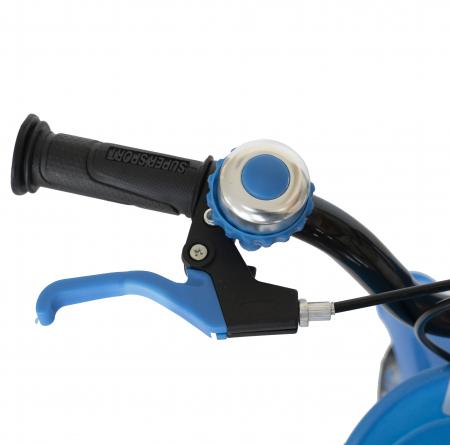 Bicicleta Copii 2-4 ani, Roti 12 Inch, C-Brake, Roti Ajutatoare, Rich Baby CSR12/03A, Cadru Albastru cu Design Negru [10]