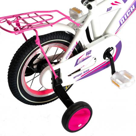 Bicicleta Copii 2-4 ani, Roti 12 Inch, V-Brake, Roti Ajutatoare, Rich Baby CST12/03C, Cadru Alb cu Design Roz [2]