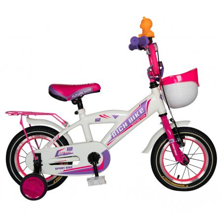 Bicicleta Copii 2-4 ani, Roti 12 Inch, V-Brake, Roti Ajutatoare, Rich Baby CST12/03C, Cadru Alb cu Design Roz [0]