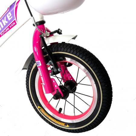 Bicicleta Copii 2-4 ani, Roti 12 Inch, V-Brake, Roti Ajutatoare, Rich Baby CST12/03C, Cadru Alb cu Design Roz [4]