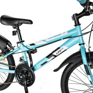 "Bicicleta copii 20"" LIFE A2030L, frana V-Brake,  18 viteze, varsta 7-10 ani, culoare albastru/alb5"