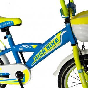 "Bicicleta copii Rich Baby T1603C, roata 16"", V-Brake,  roti ajutatoare, 4-6 ani, albastru/galben [3]"