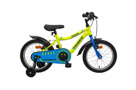 Bicicleta copii Robike Racer 16 galben neon/albastru [0]