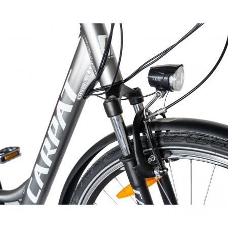 """Bicicleta electrica City (E-BIKE) CARPAT C1010E, roata 28"""", cadru aluminiu, frane V-Brake, transmisie SHIMANO 7 viteze, culoare gri/alb [4]"""