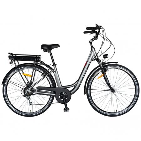 """Bicicleta electrica City (E-BIKE) CARPAT C1010E, roata 28"""", cadru aluminiu, frane V-Brake, transmisie SHIMANO 7 viteze, culoare gri/alb [0]"""