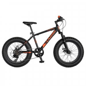 Bicicleta Fat Bike CARPAT Hercules 20 inch C2019B, frane mecanice disc, 6 viteze, culoare negru/portocaliu0