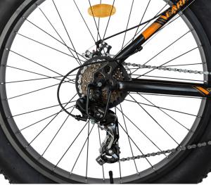 Bicicleta Fat Bike CARPAT Hercules 20 inch C2019B, frane mecanice disc, 6 viteze, culoare negru/portocaliu4