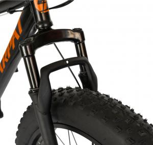 Bicicleta Fat Bike CARPAT Hercules 20 inch C2019B, frane mecanice disc, 6 viteze, culoare negru/portocaliu2