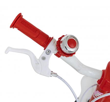 Bicicleta Fete 2-4 ani, Roti 12 Inch, C-Brake, Roti Ajutatoare, Rich Baby CSR12/04A, Cadru Rosu cu Design Alb [6]