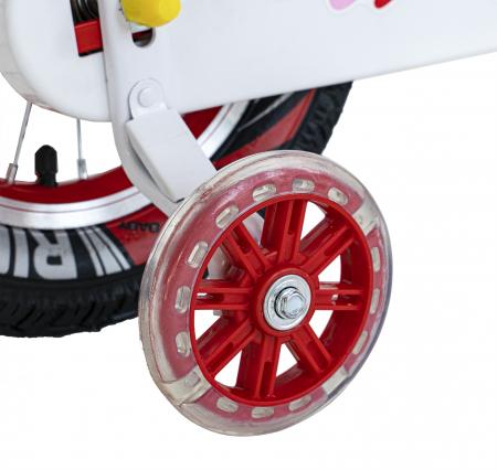 Bicicleta Fete 2-4 ani, Roti 12 Inch, C-Brake, Roti Ajutatoare, Rich Baby CSR12/04A, Cadru Rosu cu Design Alb [3]
