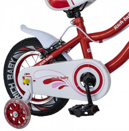 Bicicleta Fete 2-4 ani, Roti 12 Inch, C-Brake, Roti Ajutatoare, Rich Baby CSR12/04A, Cadru Rosu cu Design Alb [2]