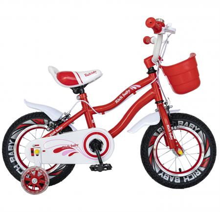 Bicicleta Fete 2-4 ani, Roti 12 Inch, C-Brake, Roti Ajutatoare, Rich Baby CSR12/04A, Cadru Rosu cu Design Alb [0]