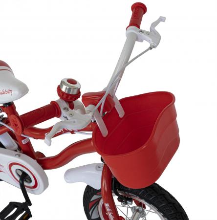 Bicicleta Fete 2-4 ani, Roti 12 Inch, C-Brake, Roti Ajutatoare, Rich Baby CSR12/04A, Cadru Rosu cu Design Alb [5]