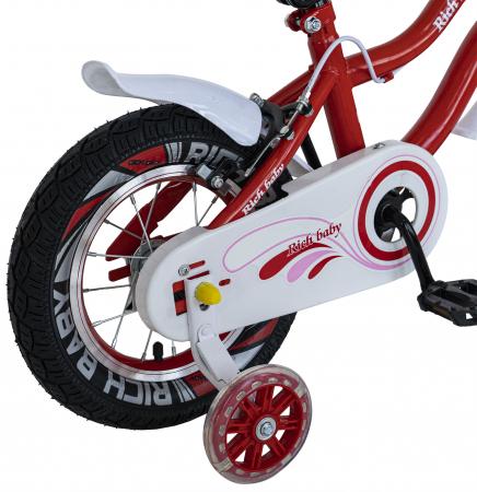 Bicicleta Fete 2-4 ani, Roti 12 Inch, C-Brake, Roti Ajutatoare, Rich Baby CSR12/04A, Cadru Rosu cu Design Alb [1]