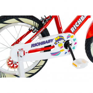 """Bicicleta fete Rich Baby R1808A, roata 18"""", C-Brake otel, roti ajutatoare cu LED, 5-7 ani, rosu/alb1"""