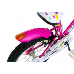 """Bicicleta fete Rich Baby R1808A, roata 18"""", C-Brake otel, roti ajutatoare cu LED, 5-7 ani, fucsia/alb3"""