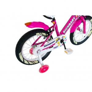 """Bicicleta fete Rich Baby R1808A, roata 18"""", C-Brake otel, roti ajutatoare cu LED, 5-7 ani, fucsia/alb1"""