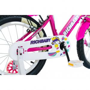"""Bicicleta fete Rich Baby R1808A, roata 18"""", C-Brake otel, roti ajutatoare cu LED, 5-7 ani, fucsia/alb2"""
