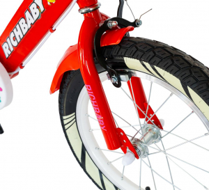 """Bicicleta fete Rich Baby R1808A, roata 18"""", C-Brake otel, roti ajutatoare cu LED, 5-7 ani, rosu/alb6"""