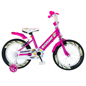 """Bicicleta fete Rich Baby R1808A, roata 18"""", C-Brake otel, roti ajutatoare cu LED, 5-7 ani, fucsia/alb0"""