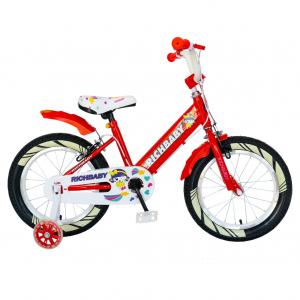 """Bicicleta fete Rich Baby R1808A, roata 18"""", C-Brake otel, roti ajutatoare cu LED, 5-7 ani, rosu/alb0"""