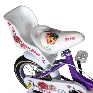 "Bicicleta fete Rich Baby T1205C, roata 12"", C-Brake,  roti ajutatoare, 2-4 ani, mov/alb1"