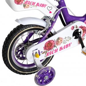 "Bicicleta fete Rich Baby T1205C, roata 12"", C-Brake,  roti ajutatoare, 2-4 ani, mov/alb2"