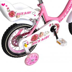 "Bicicleta fete Rich Baby T1205C, roata 12"", C-Brake,  roti ajutatoare, 2-4 ani, roz/alb [2]"