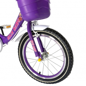 "Bicicleta fete Rich Baby T1605C, roata 16"", C-Brake,  roti ajutatoare, 4-6 ani, mov/alb [5]"