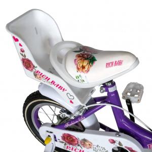 "Bicicleta fete Rich Baby T1605C, roata 16"", C-Brake,  roti ajutatoare, 4-6 ani, mov/alb [1]"