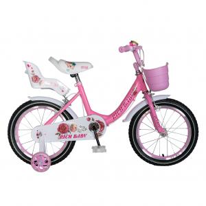 "Bicicleta fete Rich Baby T1605C, roata 16"", C-Brake,  roti ajutatoare, 4-6 ani, roz/alb [0]"