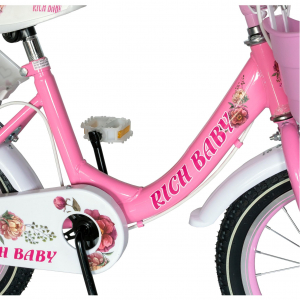 "Bicicleta fete Rich Baby T1605C, roata 16"", C-Brake,  roti ajutatoare, 4-6 ani, roz/alb [4]"
