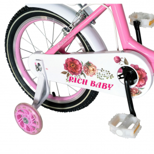 "Bicicleta fete Rich Baby T1605C, roata 16"", C-Brake,  roti ajutatoare, 4-6 ani, roz/alb [2]"